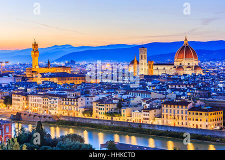 Florence, Italy. View of Florence after sunset from Piazzale Michelangelo - Stock Photo