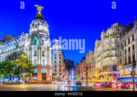 Madrid, Spain. Gran Via, main shopping street at twilight. - Stock Photo