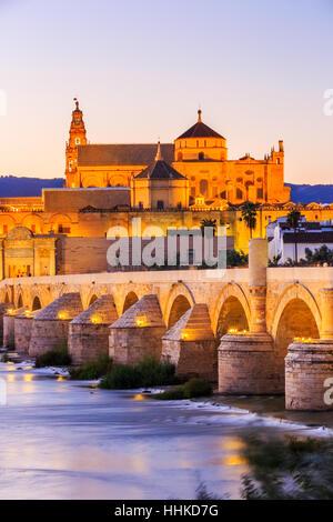 Cordoba, Spain. Roman Bridge and Mezquita. - Stock Photo