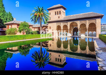 Alhambra, Granada, Spain. The Nasrid Palaces (Palacios Nazaríes) in the Alhambra fortress. - Stock Photo