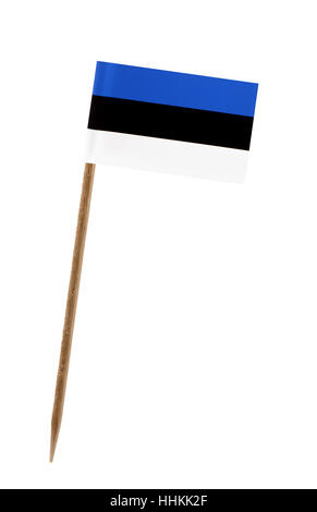 Tooth pick wit a small paper flag of Estonia - Stock Photo