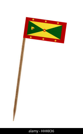 Tooth pick wit a small paper flag of Grenada - Stock Photo
