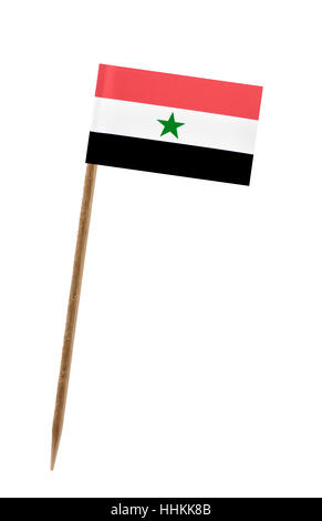 Tooth pick wit a small paper flag of Yemen - Stock Photo