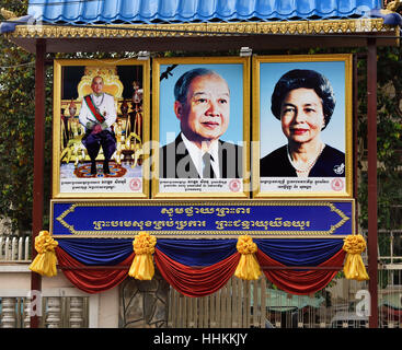 The Royal Family ( Portrait of King Norodom Sihanouk and  Norodom Monineath Sihanouk Queen and King Norodom Sihamoni - Stock Photo