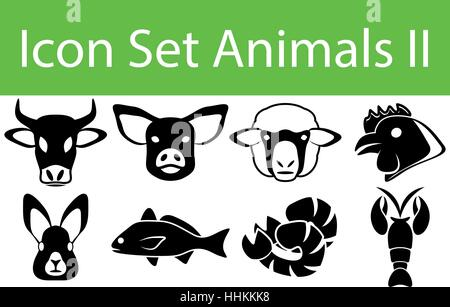 Icon Set Animals II with 8 icons for the creative use in graphic design - Stock Photo