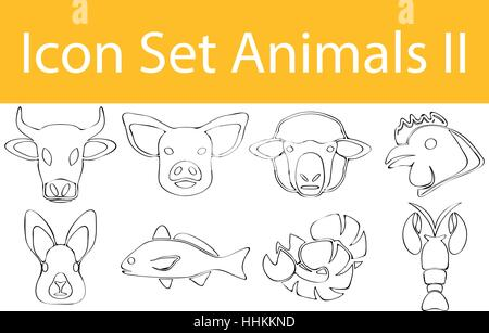 Drawn Doodle Lined Icon Set Animals II with 8 icons for the creative use in graphic design - Stock Photo