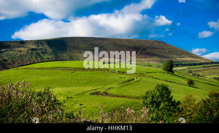 Z-shape uphill farm road, Pendle hill In distance, Forest Of Bowland, Lancashire, England UK - Stock Photo