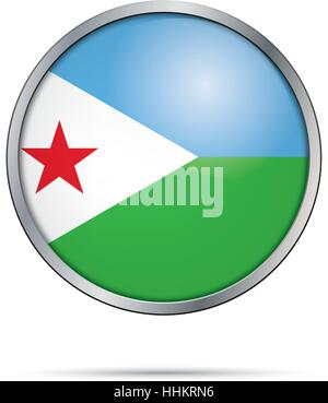 Vector Djiboutian flag button. Djibouti flag in glass button style with metal frame - Stock Photo