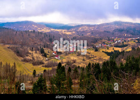 Lokve valley in Gorski Kotar view, mountain region of Croatia - Stock Photo