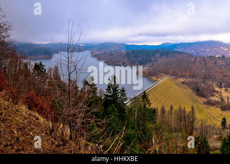 Lokvarsko lake in Gorski kotar winter view, mountain region of Croatia - Stock Photo