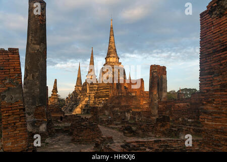 The three Chedis of  the old Royal Palace Wat Phra Si Sanphet, Ayutthaya Historical Park, Thailand, Asia - Stock Photo