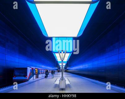 Interior of Hafencity University underground station in Hamburg, Germany - Stock Photo