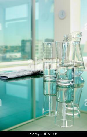 newspaper, journal, glass, chalice, tumbler, office, desk, object, inside, - Stock Photo