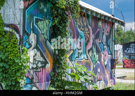 Graffiti painted buildings in the River Arts District of Asheville, North Carolina, USA. - Stock Photo