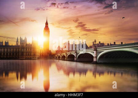 Big Ben and Westminster Bridge at dusk, London, UK - Stock Photo