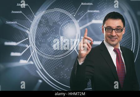 Handsome Businessman. Business Idea concept. Technology background - Stock Photo