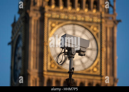 A traffic CCTV camera mounted in front of the clockface containing the Big Ben bell in the Elizabeth Tower of the - Stock Photo