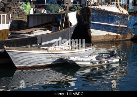 Brixham a small fishing town and civil parish in the district of Torbay in the county of Devon, Boats in the harbour - Stock Photo