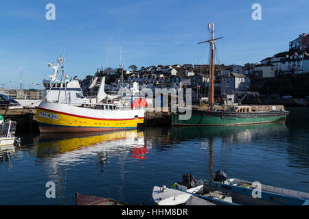 Boats in the harbour Brixham,south devon,Devon,TH 420, - Stock Photo
