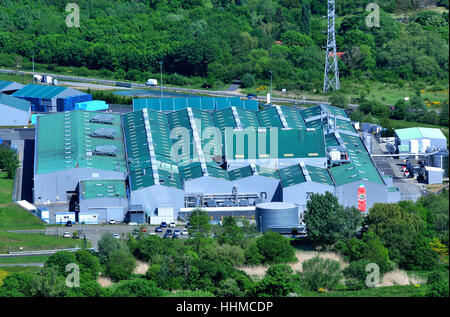 aerial view on Volvic factory Volvic Puy-de-Dome Auvergne Massif-Central France - Stock Photo