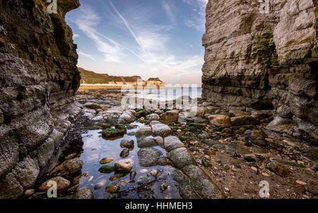 Thornwick Bay on the east coast of England. North Yorkshire coast. - Stock Photo