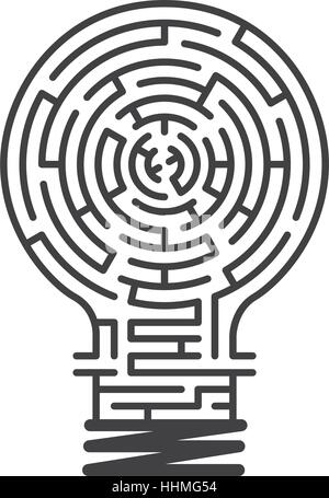 the maze in light bulb, maze idea game, labyrinth, entry and exit, vector illustration - Stock Photo