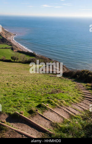 Sidmouth. Endless steps climbing up from Salcombe Mouth, near Sidmouth, to the top of the cliffs on the South West - Stock Photo