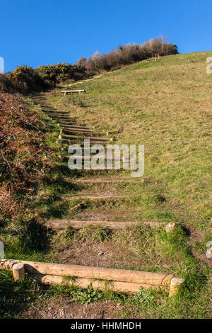 Endless steps climbing up from Salcombe Mouth, near Sidmouth, to the top of the cliffs on the South West Coastal - Stock Photo