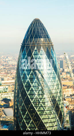 30 St Mary Axe also known as the Gherkin in the City of London. - Stock Photo