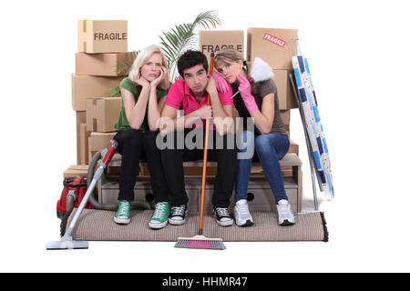 anger, resentment, annoy, box, boxes, broom, raving, furious, angry, irately, - Stock Photo