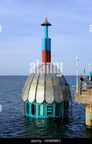 Pier with diving bell, Zinnowitz, Usedom, Baltic Sea, Mecklenburg-Western Pomerania, Germany - Stock Photo