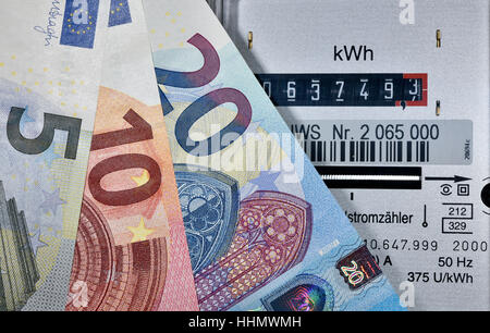 Image symbolic of energy costs, electricity meter with Euro banknotes fanned out - Stock Photo