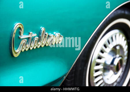Pontiac Catalina, built in 1966, close-up view, lettering, Power Big Meet, classic car show, Västerås, Sweden - Stock Photo