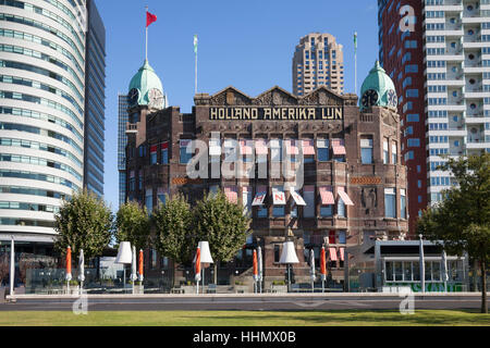 Hotel New York, former Holland-Amerika Lijn shipping company, Wilhelmina Quay, Kop van Zuid, Rotterdam, Holland, - Stock Photo