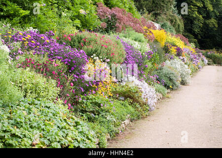 Colourful herbaceous border at Waterperry gardens in Autumn. - Stock Photo
