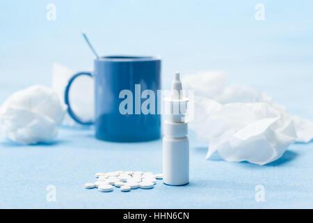 medicinally, medical, nobody, healthcare, cup, still life, blue, tea, - Stock Photo