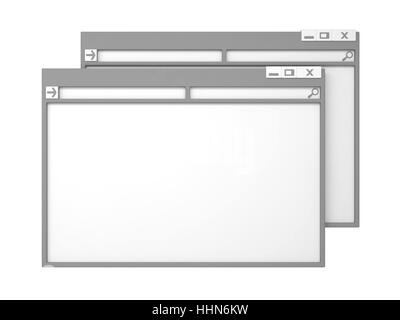 Grey Computer Window. Isolated on White Background. - Stock Photo