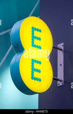 EE Logo and lettering, Piccadilly, Manchester, UK. - Stock Photo