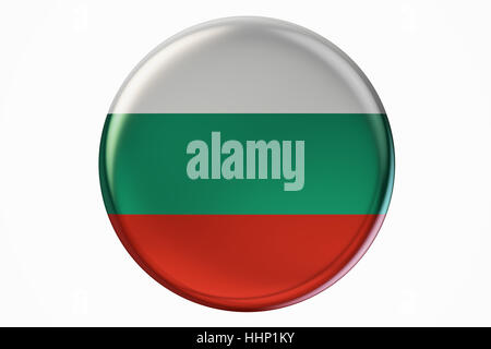 Badge with flag of Bulgaria, 3D rendering  isolated on white background - Stock Photo