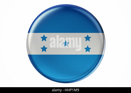 Badge with flag of Honduras, 3D rendering  isolated on white background - Stock Photo