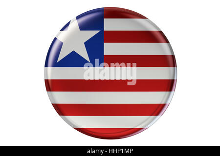 Badge with flag of Liberia, 3D rendering  isolated on white background - Stock Photo