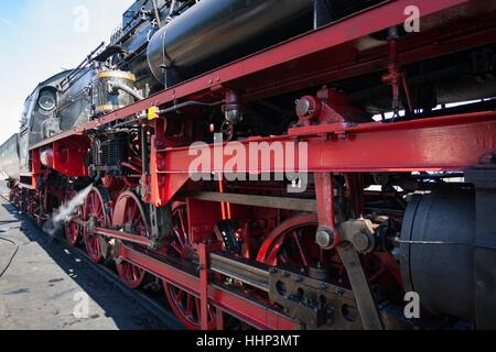 Wolsztyn, Poland - April 28, 2012 Parade of railway locomotives in Wolsztyn in western Poland. - Stock Photo