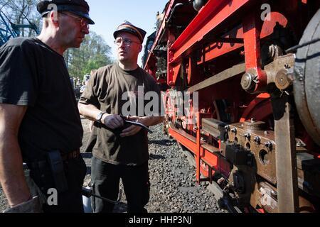 Wolsztyn, Poland - April 28, 2012 Parade of railway locomotives in Wolsztyn in western Poland. - Stock Photo