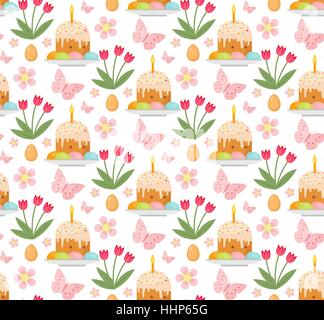 Easter seamless pattern with cake, eggs and tulips. Endless Spring background, texture, digital paper. Vector illustration. - Stock Photo