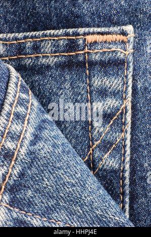 Denim blue jeans, pocket detail macro closeup, large detailed vertical texture - Stock Photo