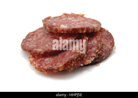 Sliced salami sausage cuts, isolated large detailed macro closeup, gentle shadow - Stock Photo
