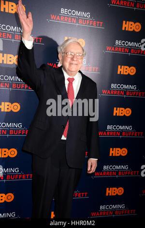 New York, USA. 19th Jan, 2017. Businessman Warren Buffett attends the world premiere of the HBO film 'Becoming Warren - Stock Photo