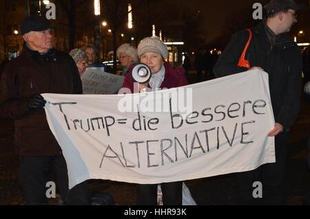 Berlin, Germany. 20th Jan, 2017. Pro-Trump rally with Russian flags in Berlin Credit: Markku Rainer Peltonen/Alamy - Stock Photo