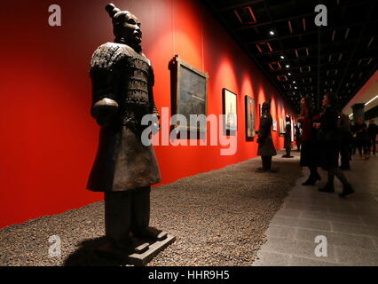 St Petersburg, Russia. 20th Jan, 2017. A statue of ancient Chinese warrior on display at an exhibition titled 'Chinese - Stock Photo