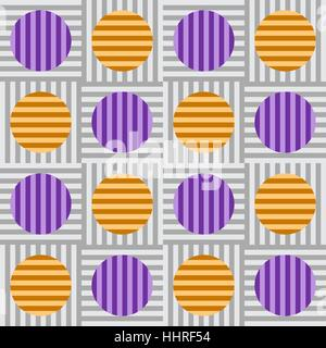 Stripes within circles, perpendicular to stripes within squares in a matrix - Tile pattern vector - Stock Photo